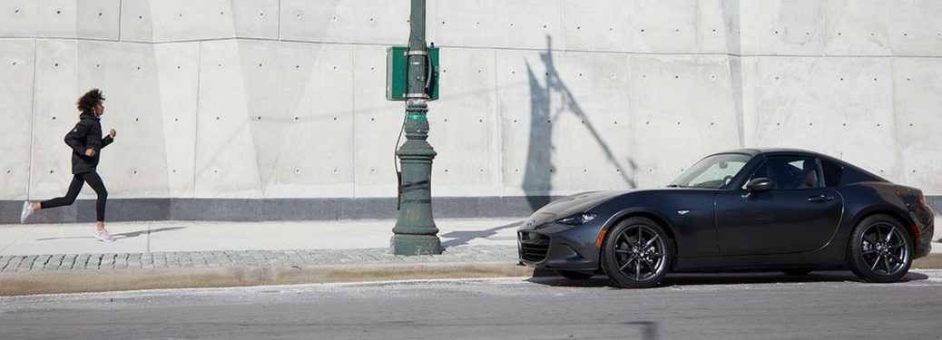 2018 mazda mx-5 rf parked by a runner