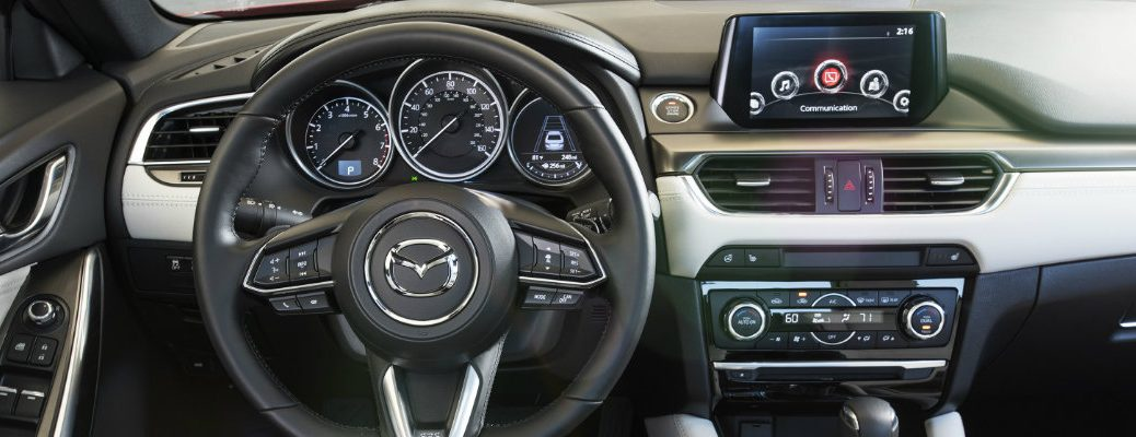 2018 Mazda6 interior shot of digital cockpit with Mazda Connect infotainment and sport i-activsense safety package