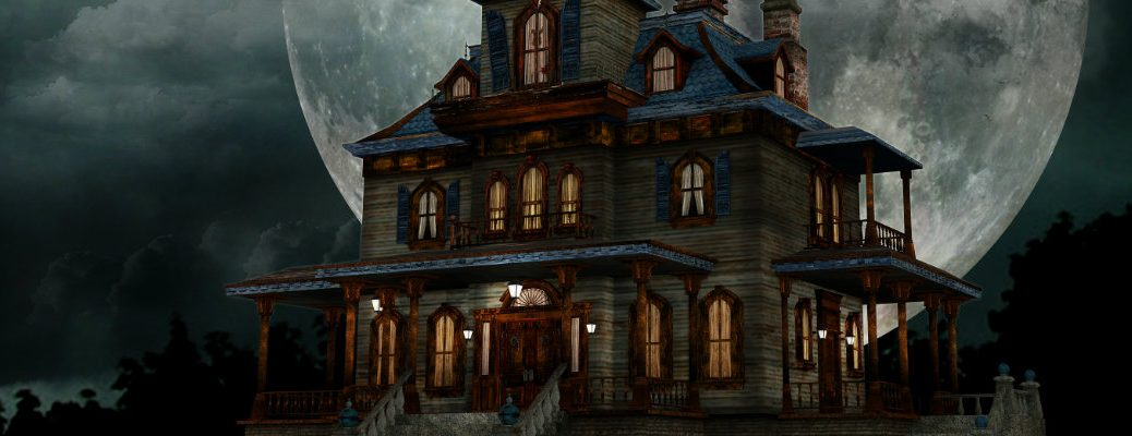 an old, broken down, and decrepit manor framed by a giant, bright, white full moon