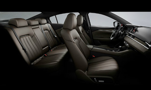 2019 Mazda6 interior side shot of cabin space and seating upholstery