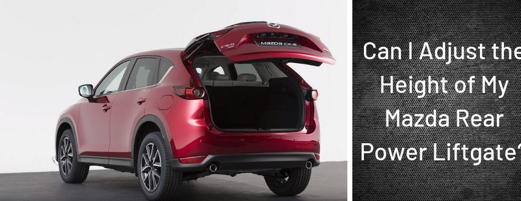 """Screenshot from Mazda Europe Youtube video of red Mazda CX-5 with liftgate open and """"Can I Adjust the Height of My Mazda Rear Power Liftgate?"""" white text"""