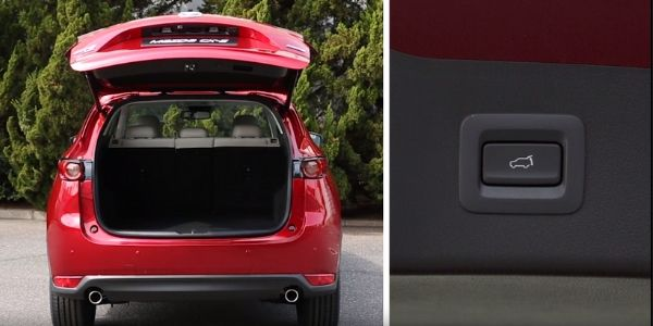 Screenshot from Mazda Europe Youtube video of red Mazda CX-5 with trunk open and closeup of liftgate button