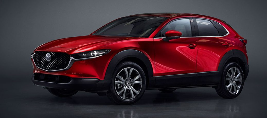 A front and side image of a red 2020 Mazda CX-30