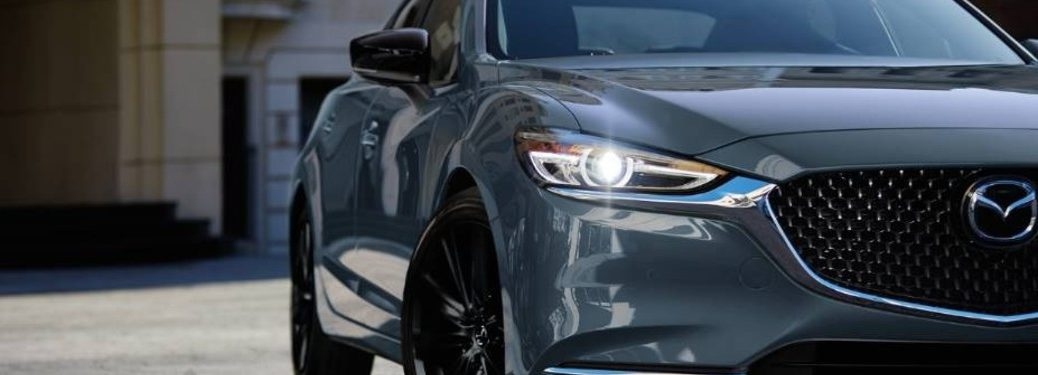 The front grille on a gray 2021 Mazda6 Carbon Edition.