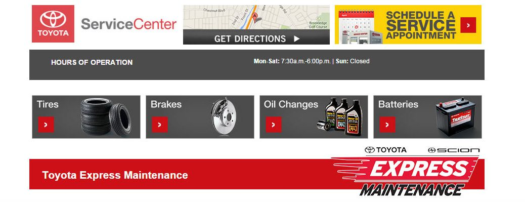 Toyota Express Center tires brakes service appointments Novato CA