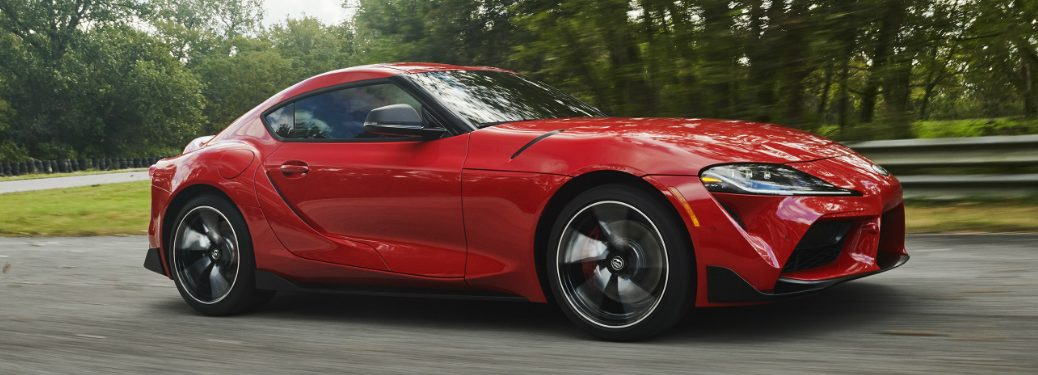 Side view of red 2020 Toyota Supra