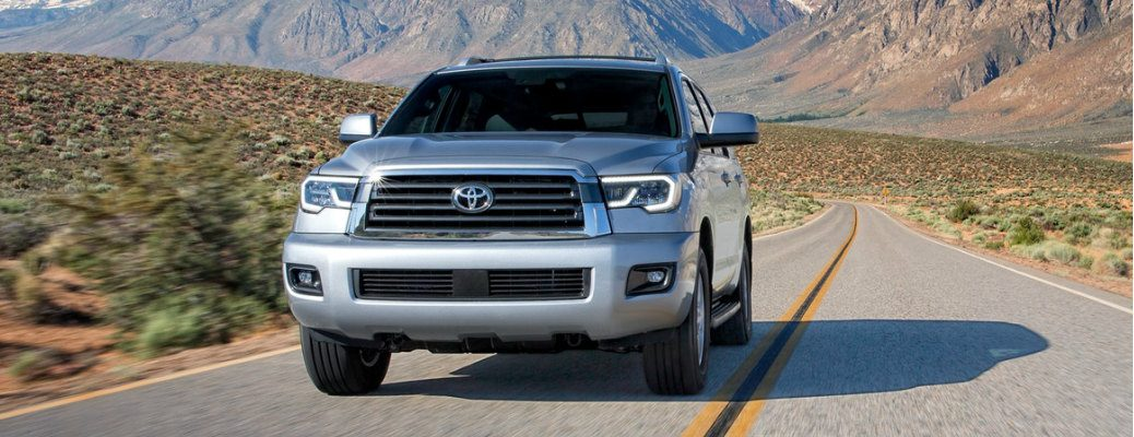 Silver 2020 Toyota Sequoia with mountains in the background