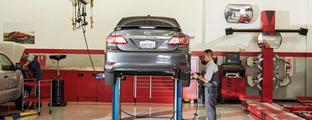 Toyota vehicle in shop for routine maintenance