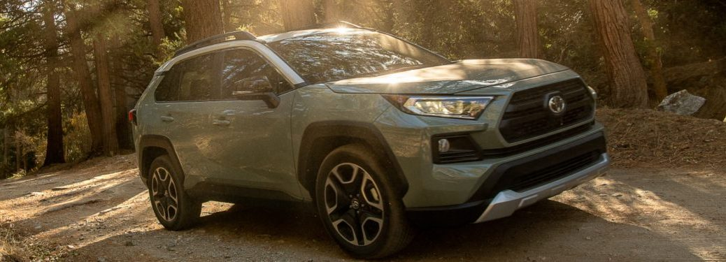 2021 Toyota RAV4 driving down a forest trail