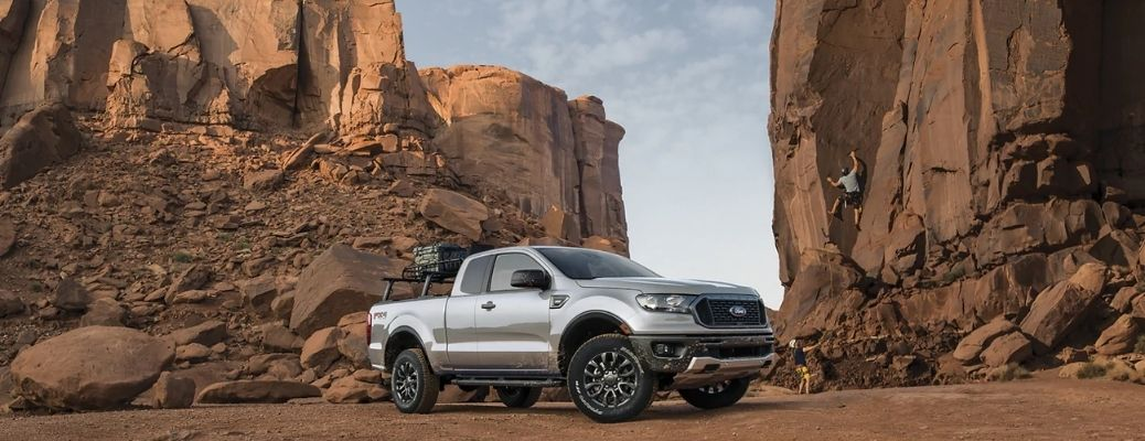 2021 Ford Ranger in a rocky backdrop