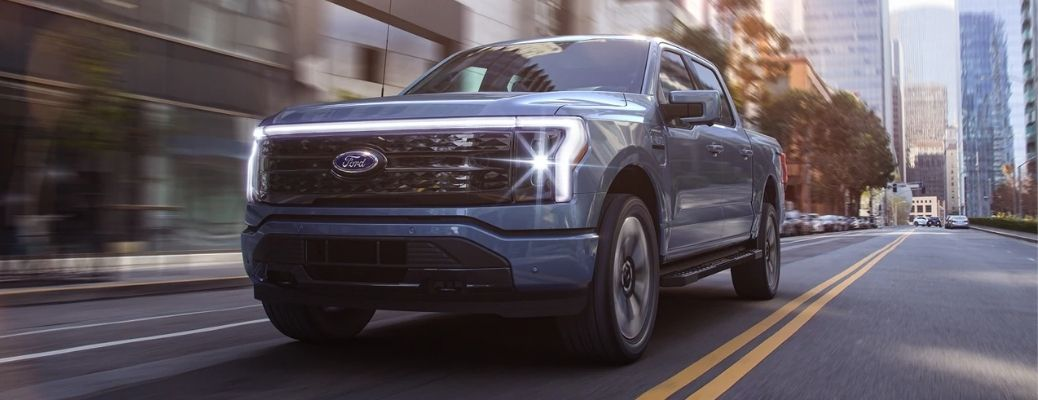 2022 Ford F-150 Lightning on a highway