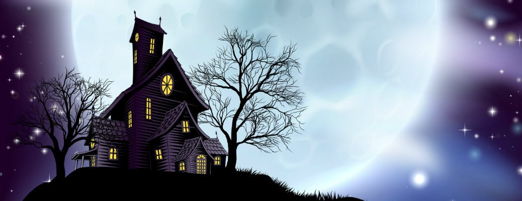 a dark and creepily lit haunted manor at the top of a grassy hill near dead trees and in front of a giant, bright full moon