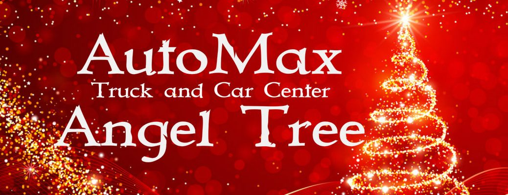 "Gold Christmas tree with red background and ""AutoMax Truck and Car Center Angel Tree"" in white text"
