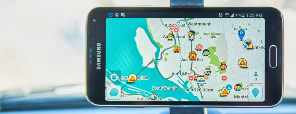 Image of a smartphone utilizing the Waze GPS mobile application