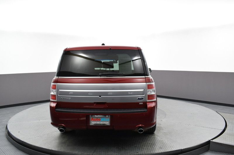 Rear view of the red 2017 Ford Flex Limited AWD