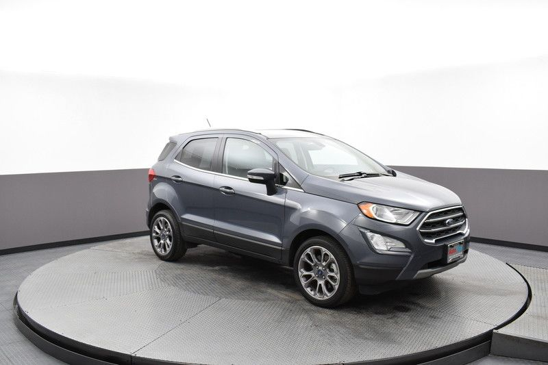 Front passenger's side view of the gray 2019 Ford EcoSport Titanium FWD