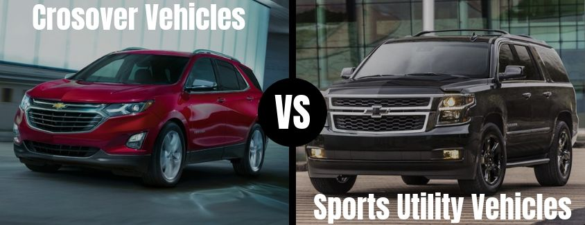 Comparison image of a Chevrolet crossover vehicle and a Chevrolet sport utility vehicle