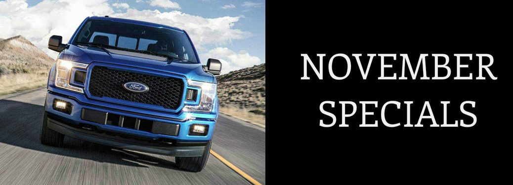 November Specials title and a blue 2019 Ford F-150