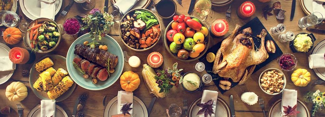 Many Thanksgiving food selections on a table
