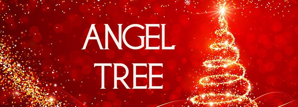 Angel Tree title with a graphic of a sparkling Christmas tree