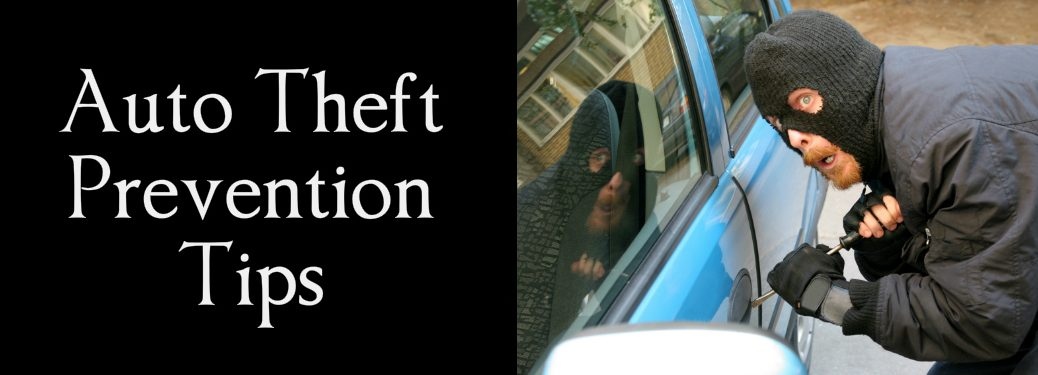 Auto Theft Prevention Tips title and a thief attempting to break into a car