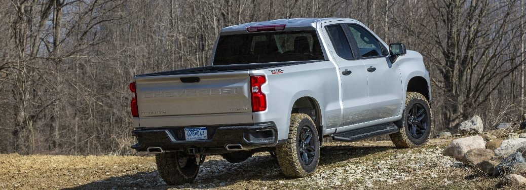 Rear view of silver 2020 Chevrolet Silverado 1500