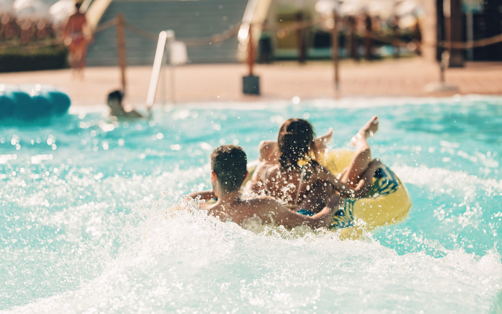 Couple having fun in a Water Park