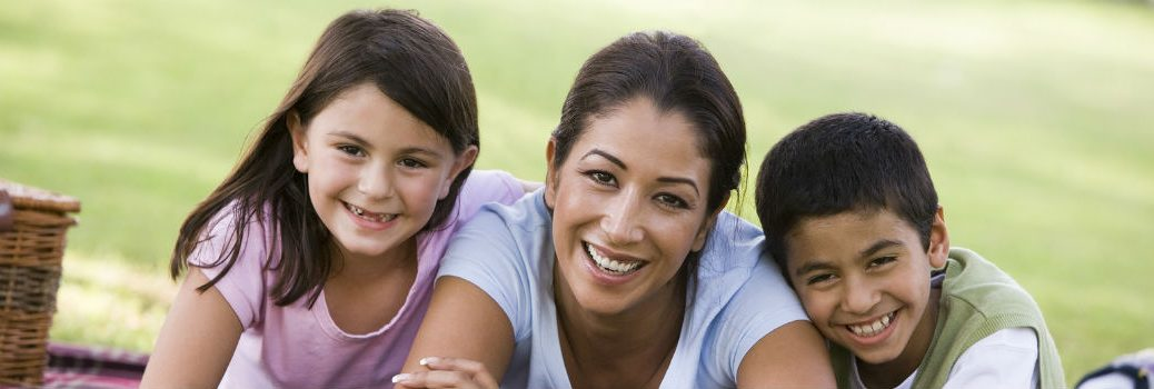 mother with her children smiling