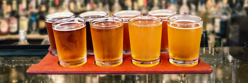 tray of craft beers close up
