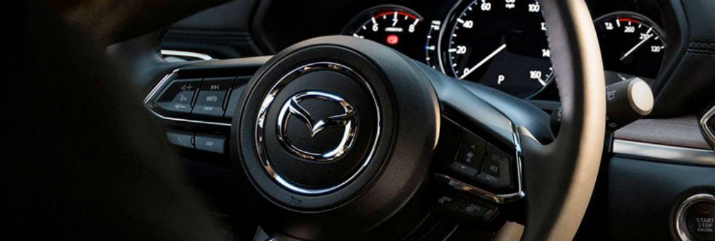 close-up of the steering wheel in the 2019 Mazda CX-5