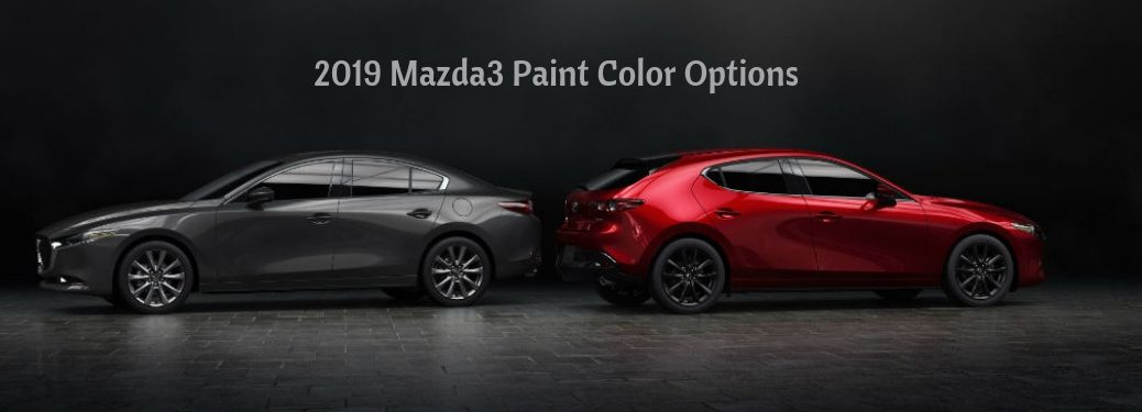 2019 Mazda3 Paint Color Options, text above a driver side exterior view of a gray 2019 Mazda3 Sedan parked next to a passenger side exterior view of a red 2019 Mazda3 Hatchback
