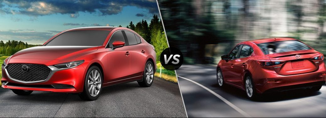"""Red 2019 Mazda3 and red 2018 Mazda3, separated by a diagonal line and a """"VS"""" logo."""