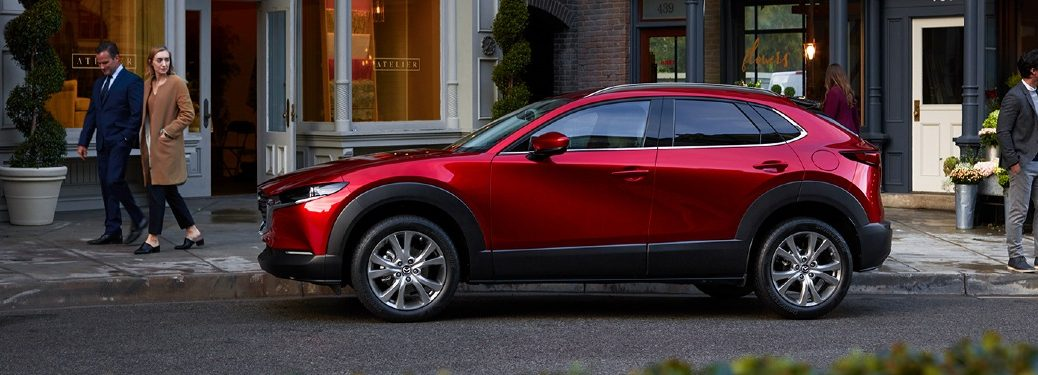 2020 CX-30 parked on curb near boutique