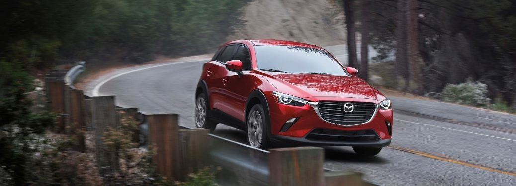 2021 CX-3 driving on curvy mountain road