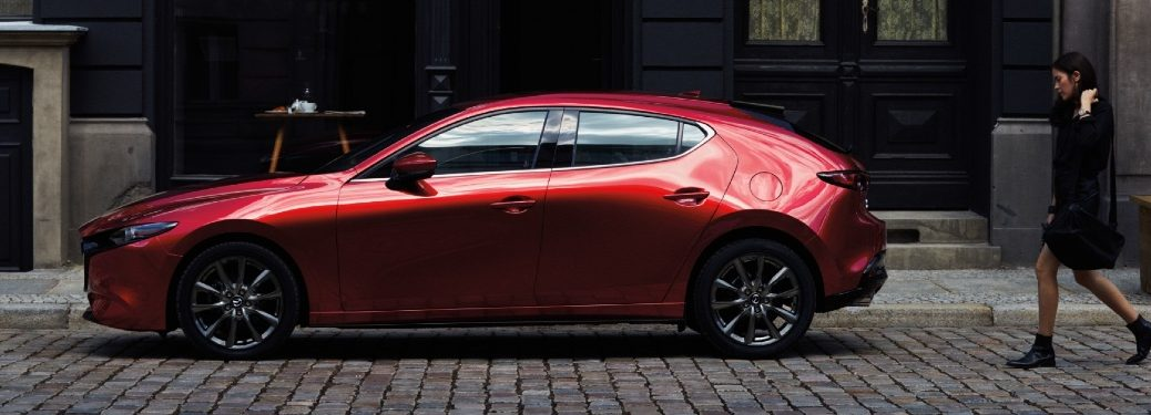 2021 Mazda3 parked by homes