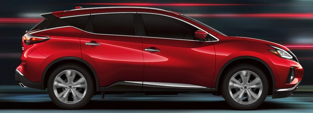 2020 Nissan Murano red with red light streaks surreal background