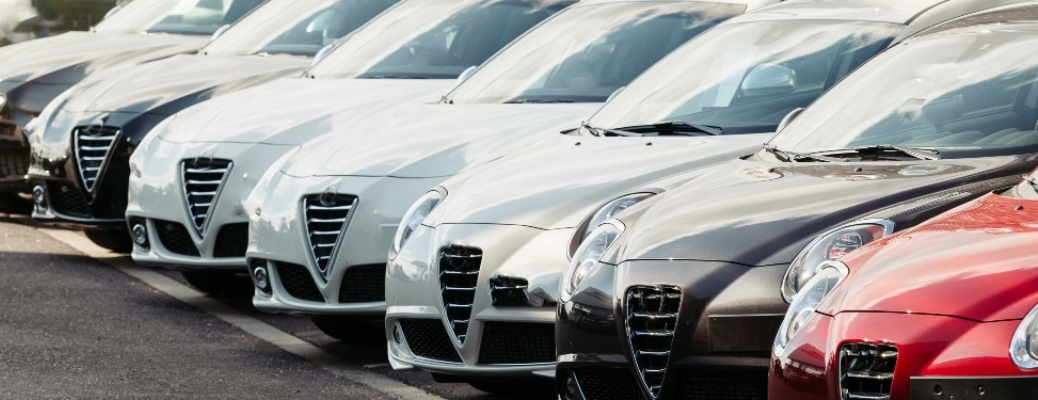 Front end of cars in a line