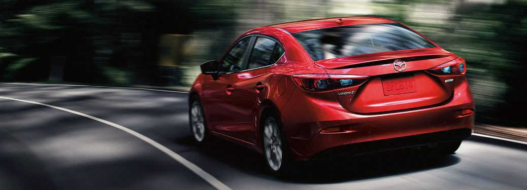 rear view of red Mazda3