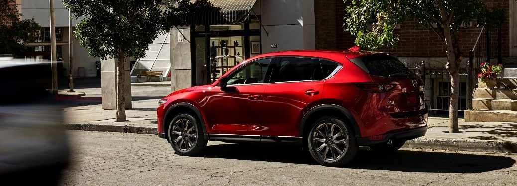 2021 Mazda CX-5 red parked on street