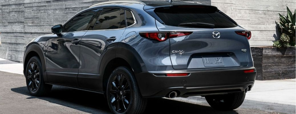 2021 Mazda CX-30 Compact Crossover Gray parked outside a building