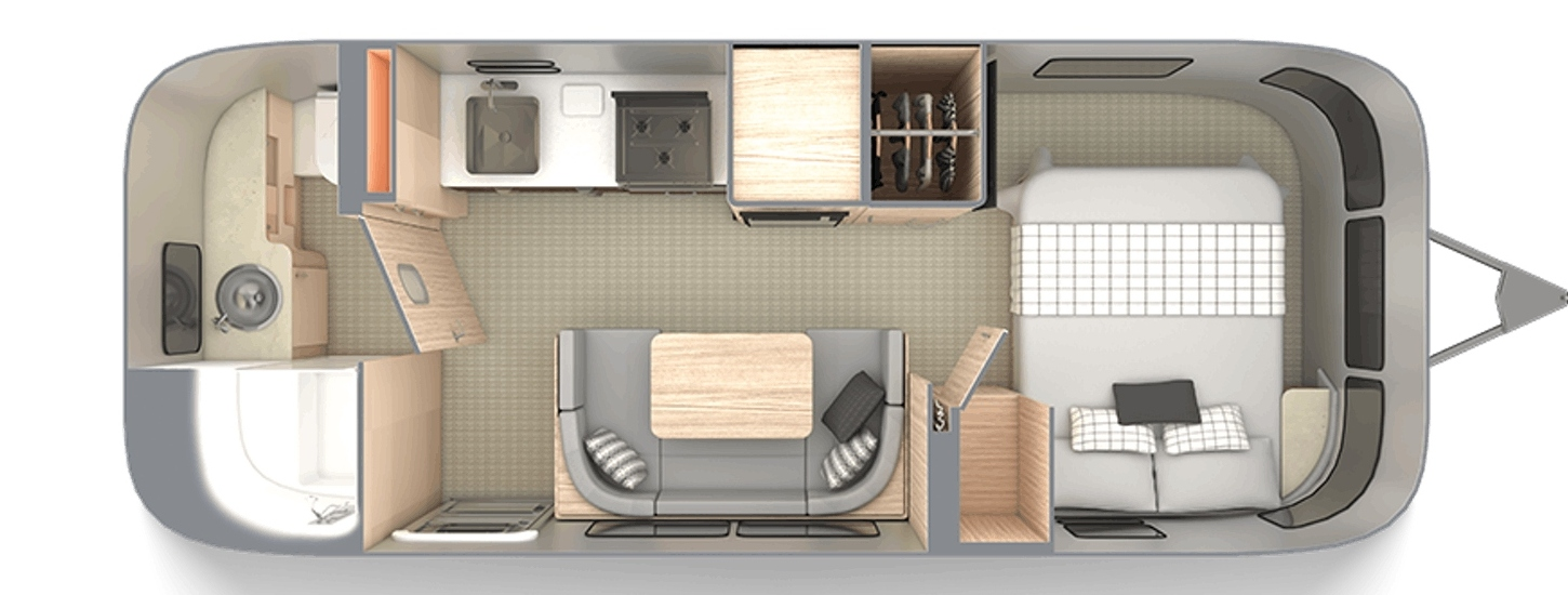 Floor plan for the 2020 Airstream Globtrotter 23FB