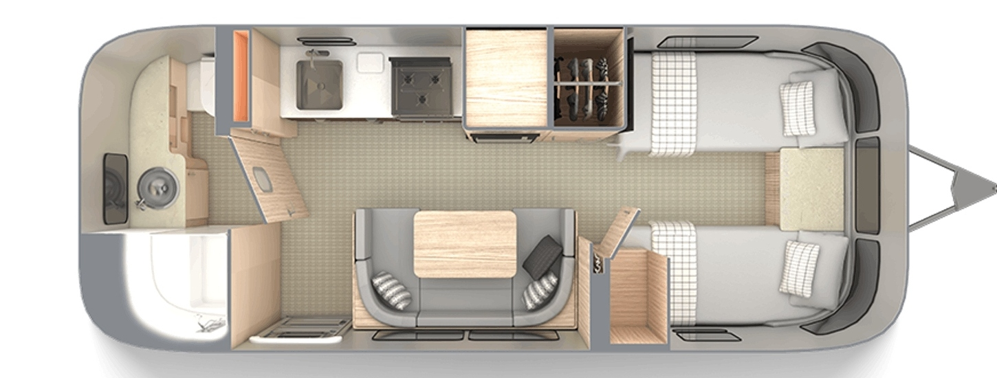 Floor plan for the 2020 Airstream Globtrotter 23FB Twin
