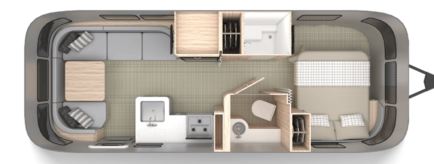 Floor plan for the 2020 Airstream Globtrotter 25FB