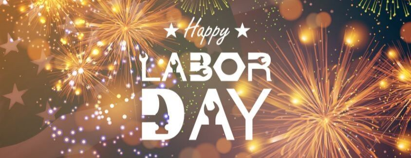 Happy Labor Day banner with fireworks as a background