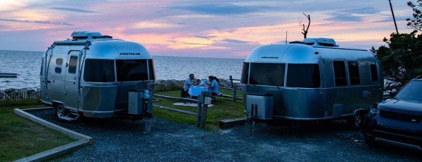 Exterior view of two 2020 Airstream Caravel travel trailers