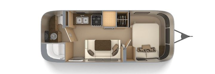 Floor plan for the 2020 Airstream Flying Cloud 23FB