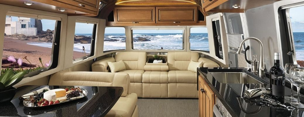 Interior view of the 2020 Airstream Classic travel trailer