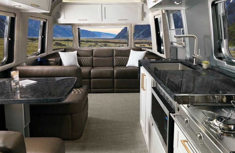 2020 Airstream Classic Comfort White with Cafe Latte Ultraleather® Interior Decor