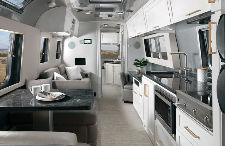 2020 Airstream Classic Comfort White with Earl Grey Ultraleather® Interior Decor