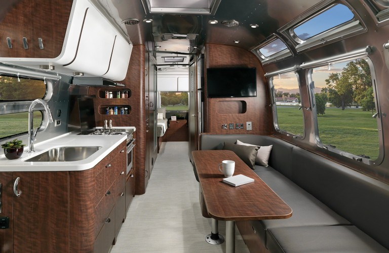 The interior of a 2021 Airstream Globetrotter.
